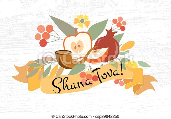 Vector collection of labels and elements for Jewish New Year - csp29842250