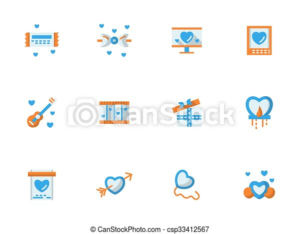 Vector collection of love greeting flat icons - csp33412567