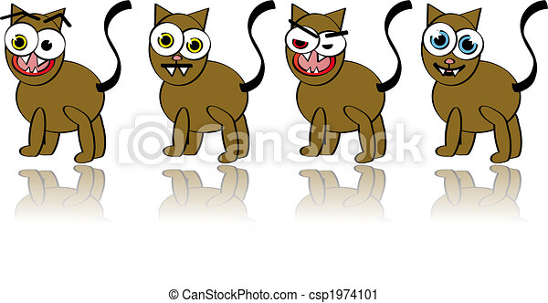 Vector Collection of Silly Cat Illustrations - csp1974101