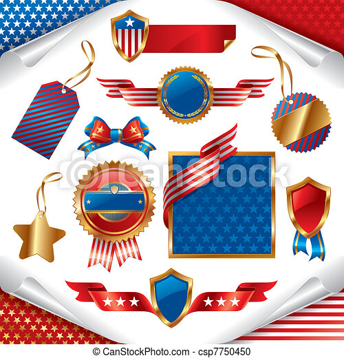 Vector collection of usa patriotic signs, labels, tags  and emblem - csp7750450