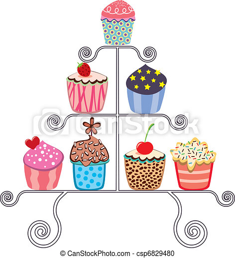 vector collection of various cupcakes on a stand - csp6829480