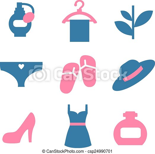 vector color beauty icons on white background - csp24990701