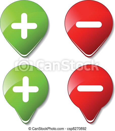 Vector color buttons - plus, minus - csp8270892