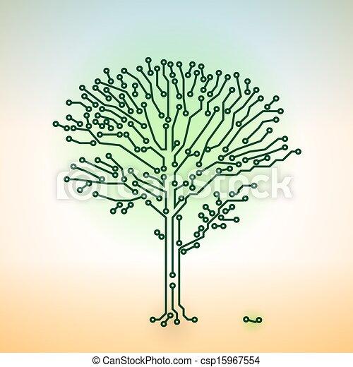 Vector color circuit board electronic tree - digital technology concept - csp15967554