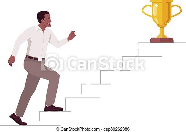 vector, color del éxito, logro, illustration., caricatura, montañismo, carrera, escalera, plano, blanco, metas, arriba, concepto, semi, rgb, fondo., escalera, pasos, aislado, carácter, empresa / negocio, trabajador - csp80262386