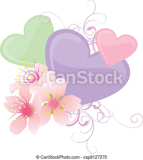 Vector color hearts and pink flowers pastel illustration vector color hearts and pink flowers pastel illustration mightylinksfo