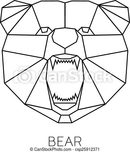 Vector Color Illustration With Geometric Bear Of Triangles Origami Style Print T Shirt