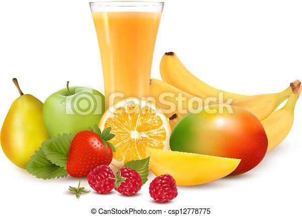 Fruta y jugo de color fresco. Ilustración de vectores - csp12778775