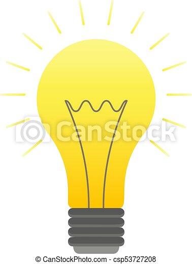 Vector Color Lightbulb Icon Bright Cartoon Bulb