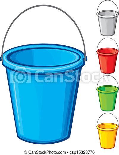 vector colored bucket with handle  - csp15323776