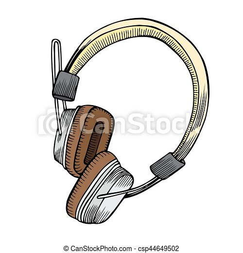 vector colored sketch isolated headphones vector colored vector rh canstockphoto com headphones vector art headphones vector graphic