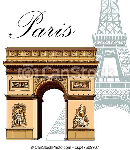Vector Colored Triumphal Arch With Eiffel Tower