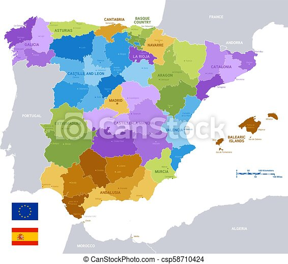 Map Of Spain Political.Vector Colorful Administrative Map Of Spain