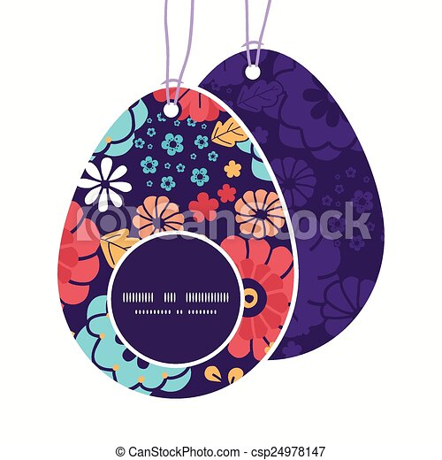 vector colorful bouquet flowers easter egg shaped tags set template