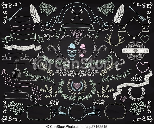 Vector Colorful Chalk Drawing Doodle Design Elements - csp27162515