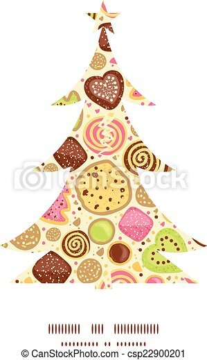 Vector Colorful Cookies Christmas Tree Silhouette Pattern Frame Card