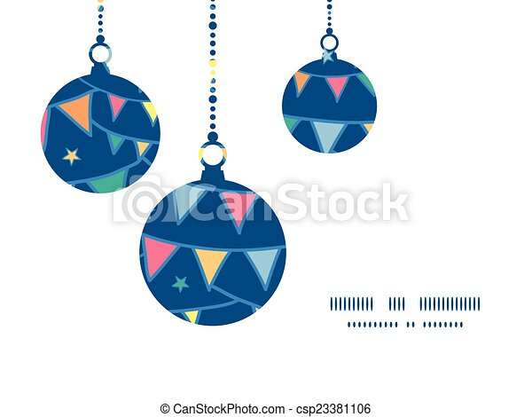 Vector Colorful Doodle Bunting Flags Christmas Ornaments Silhouettes Pattern Frame Card Template