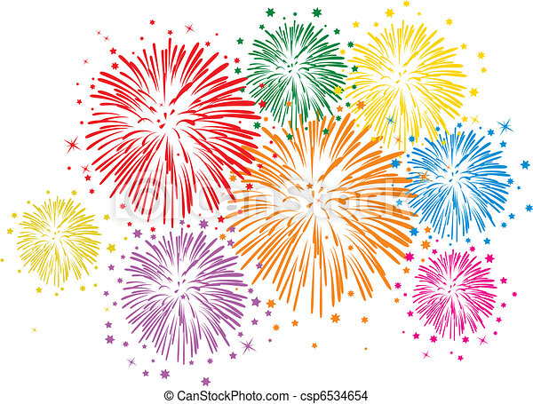 vector colorful fireworks on white background - csp6534654