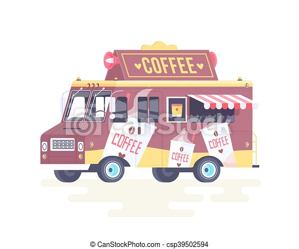 Vector colorful flat coffee truck. Isolated on white background. - csp39502594