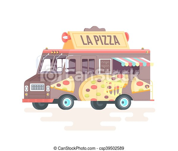 Vector colorful flat pizza truck. Isolated on white background. - csp39502589