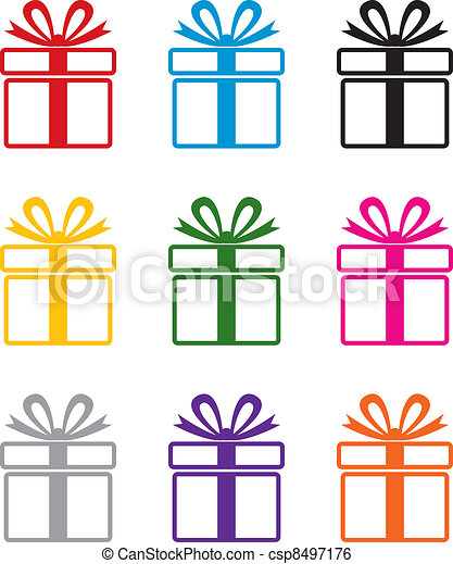 vector colorful gift box symbols  - csp8497176