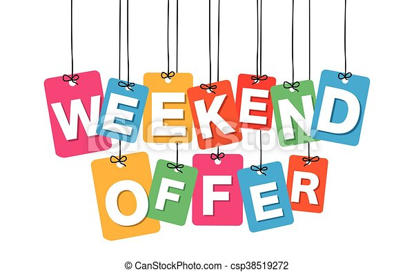 Vector colorful hanging cardboard. Tags - weekend offer - csp38519272