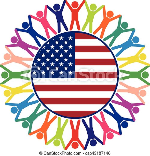 vector colorful icon, people of United States of America - csp43187146