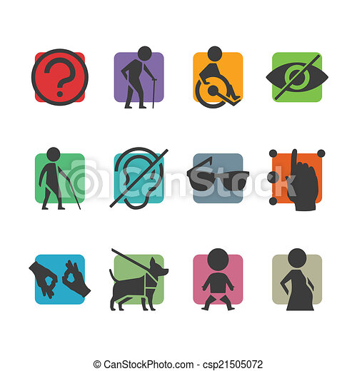 Vector colorful icon set of access signs for physically disabled people - csp21505072