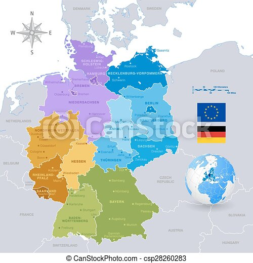 vector Colorful Map of Germany