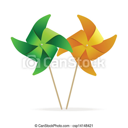 vector colorful windmills - csp14148421