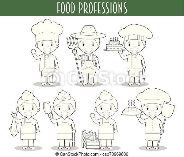 Una Serie De Profesiones De La Industria Alimenticia Para Colorear