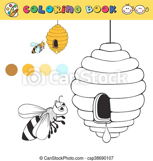 Vector, colorido, color, abeja, colmena, libro, samples., plantilla ...