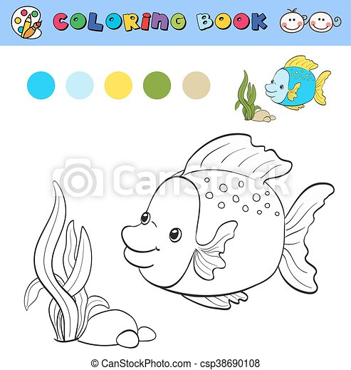 Vector, colorido, color, pez, tropical, libro, samples., plantilla ...