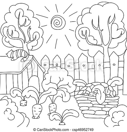 Coloring Pages For Children Vector Coloring Book Carrots In The Garden