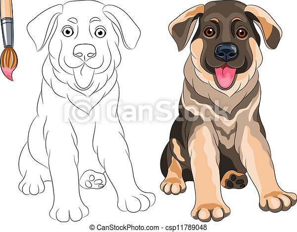 Vector Coloring Book Of Smiling Puppy Dog German Shepherd Vector Coloring Book For Children Of Funny Smiling Puppy Dog Canstock