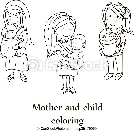 Vector coloring book set. Happy mothers carrying their childs - csp35179069