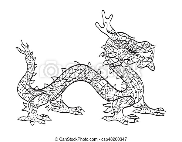Vector Coloring Japanese Dragon For Adults