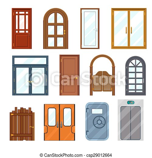 vector colourful front doors set front architecture clip art rh canstockphoto com front door clipart free red front door clipart