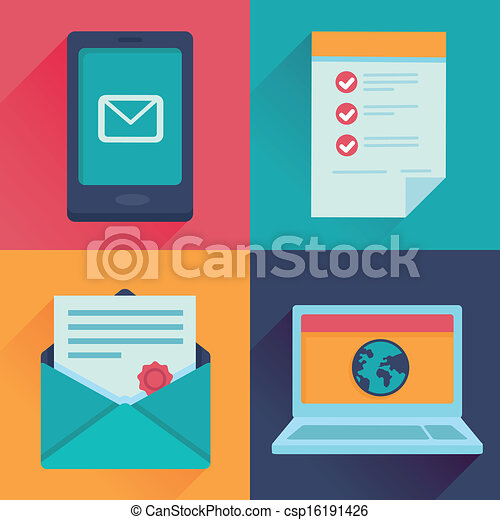 Vector communication icons in flat retro style - csp16191426