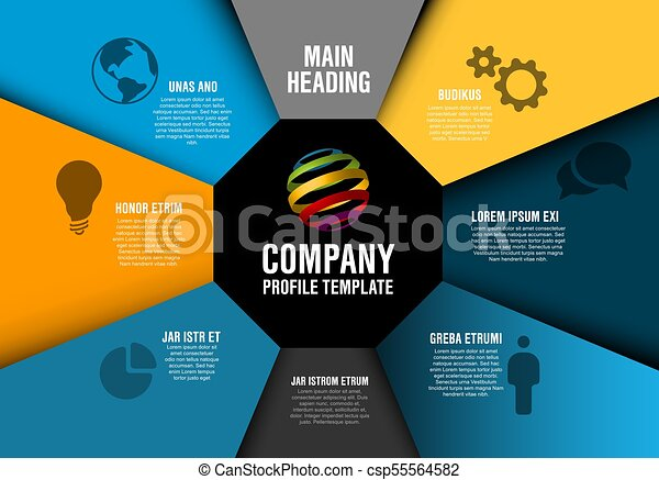Vector company profile infographic diagram template with... vector ...