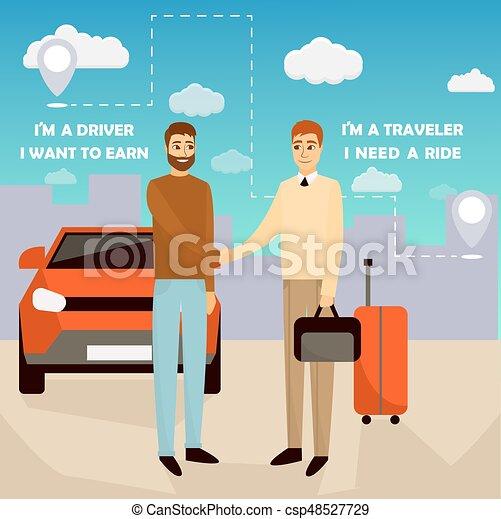 Carpooling vector ilustración en estilo dibujos animados. Carpool y el afiche de servicio compartido. Dos hombres estrechando la mano delante del coche - csp48527729
