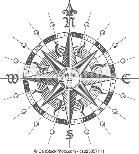 vector compass rose illustration of a vector hi quality vintage