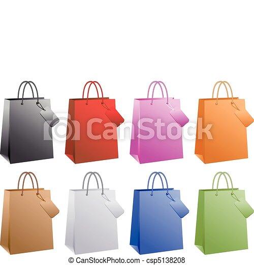 Bolsas de compras coloridas, vector - csp5138208