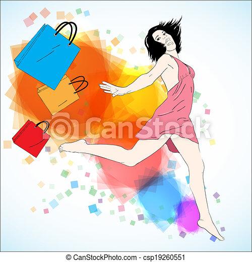Feliz ilustración de vectores de compras - csp19260551