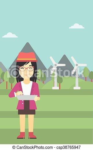 Mujer trabajando en la ilustración vectorial portátil. - csp38765947