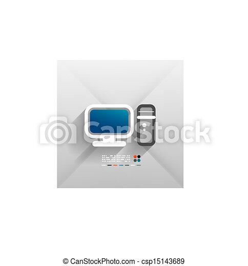 Vector computer 3d paper design - csp15143689