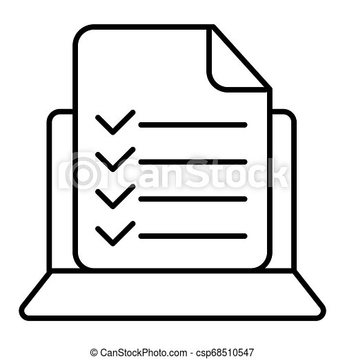 Vector computer and checklist icon. Online survey, application form with check marks, tasks list. Modern sign, linear pictogram, outline symbol, simple thin line icon - csp68510547