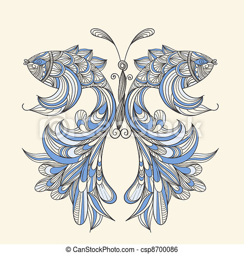 vector concept butterfly with wings - fishes, fishes can be used separately   - csp8700086
