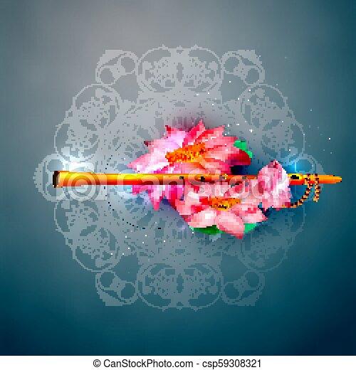 Vector Concept Hare Krishna Lotus And Flute Lord Krishna Indian God