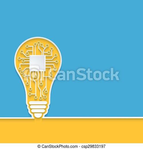 Vector  concept light bulb with circuit board - csp29833197